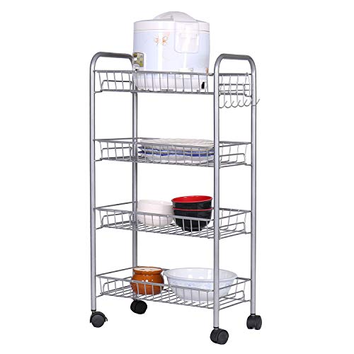 Cheap HOME BI 4-Tire Mesh Wire Rolling Cart on Wheels, Lockable Utility Cart Basket Stand with Removable Shelves and 6 Hooks for Kitchen Bathroom Closet Organization