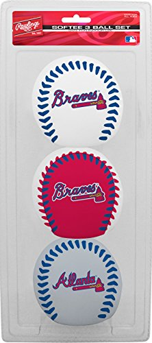 Jarden Sports Licensing MLB Atlanta Braves Kids Softee Baseball (Set of 3), Small, Blue