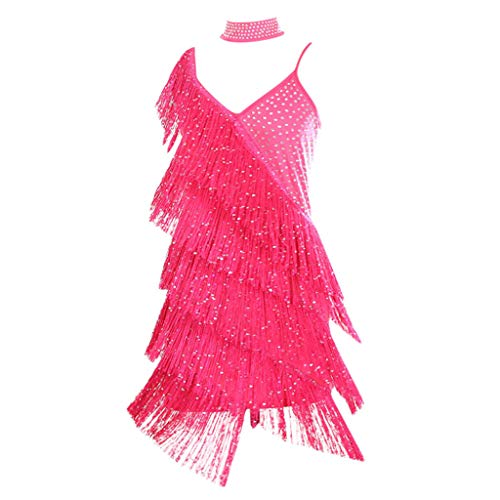Euone Womans Dress Clearances, Women Sequined Tassel Latin Competition Dress Practicing Performance Costumes
