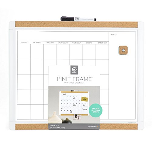 U Brands Pin-It Magnetic Dry Erase Calendar Board, 20 x 16 Inches, White -