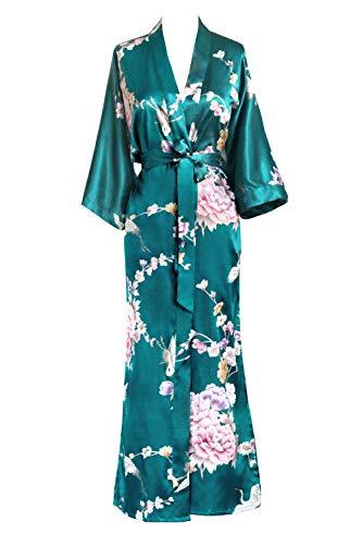 KIM+ONO Women's Satin Kimono Robe Long – Floral