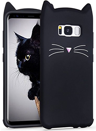 Mulafnxal Case for Samsung Galaxy S8 Plus,Soft Silicone 3D Cartoon Animal Cat Slim Cover, Cute Cases Kids Girls Shock Proof Rubber Gel Kawaii Character Fashion Protector for Samsung S8Plus +Black Cat