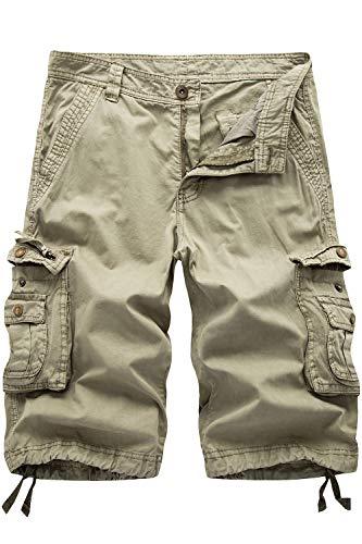HHGKED Men's Twill Cargo Shorts (Khaki, 36)