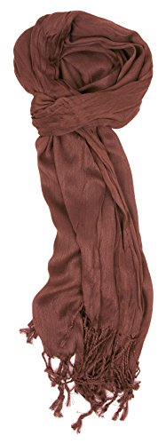 (Love Lakeside-Women's Must Have Solid Color Crinkle Scarf (One, Mocha))