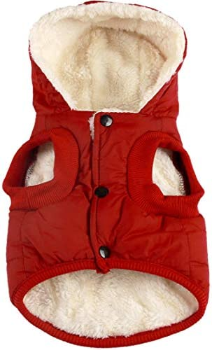 Vecomfy Fleece Lining Extra Warm Dog Hoodie in Winter for Small Dogs Jacket Puppy Coats with Hooded,Red M