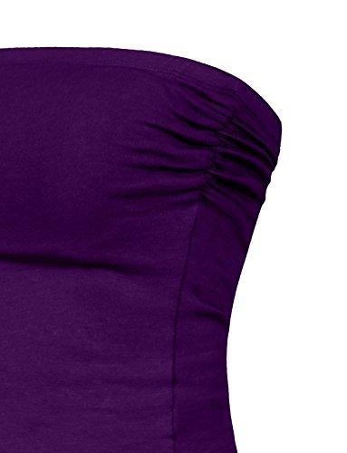 Tube Casual Women's Scrunched Jngt30jlf13 J Tops Bra in dkpurple Stretch Detailed Side LOVNY Crop Built BPnTqxfE