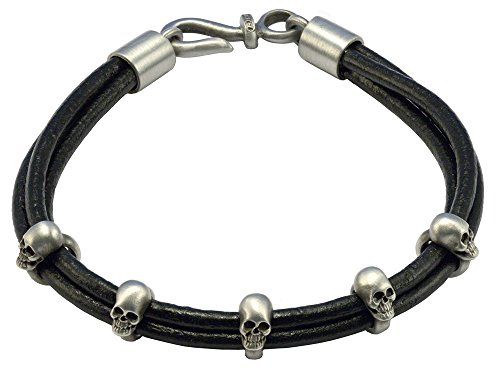- Bico Raw Truth Black Leather Bracelet with Skulls (FB412BLK 21cm-8in) - mysterious and wild