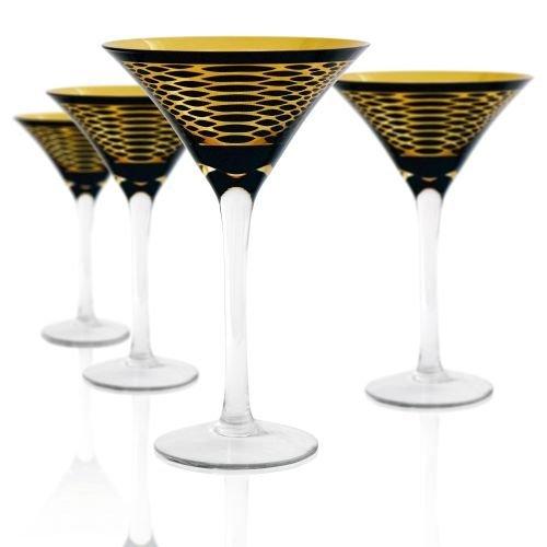 Artland 51031B Animal Skin Martini Glass, Set of 4, 8 oz, Black/Gold by Artland