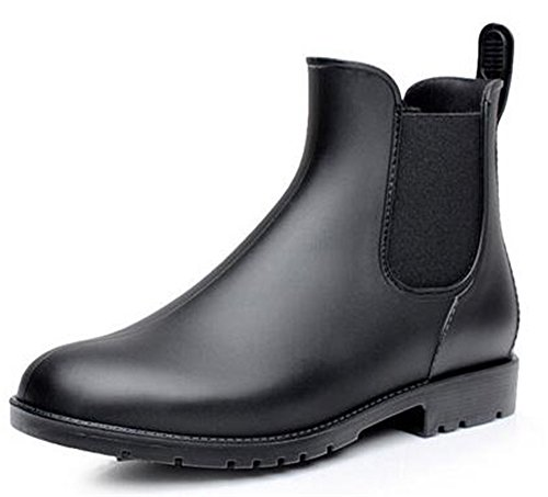 Women's Slip WUIWUIYU Boot Wellie Ankle Black High Lady Rain Chelsea on UHqXdH