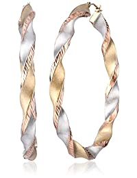 Bonded Sterling Silver and 14k Tri-Color Gold Twist Hoop Earrings