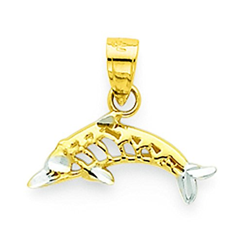 10K Gold & Rhodium Plated Dolphin Charm Pendant Jewelry