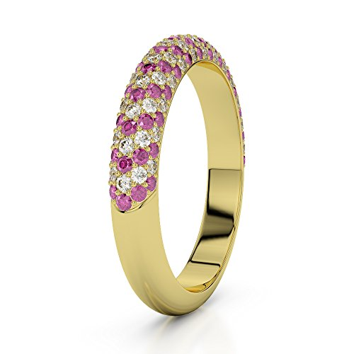Or jaune 18 carats 0.29 CT G-H/VS Certifié Round Cut Saphir rose et diamants Agdr-1118
