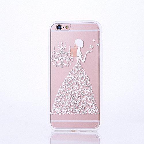 König-Shop Handy Hülle Mandala für Apple iPhone 6s Plus Design Case Schutzhülle Motiv Schmetterling Frau Cover Silikon Tasche Bumper Weiß