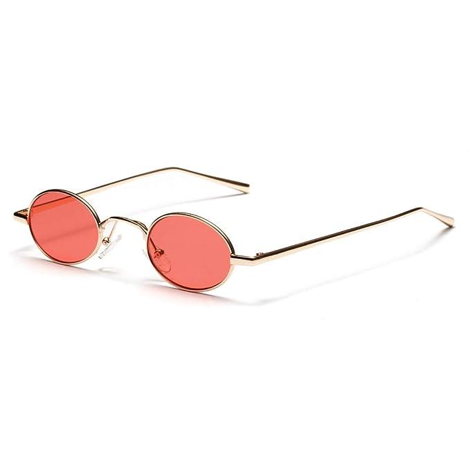 GAOHAITAO Gafas de sol ovaladas pequeñas negras retro de ...