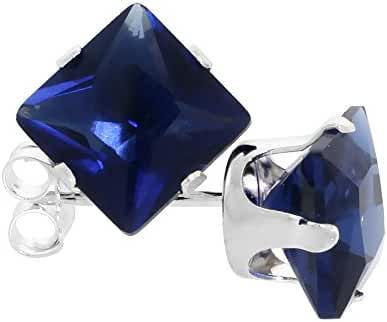 Sterling Silver Cubic Zirconia Square Sapphire Earrings Studs 7 mm Princess cut Navy color 4 carat/pair