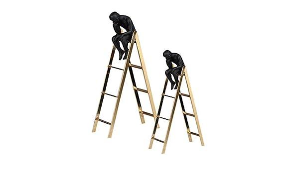 JYY Pensador en la Escultura de escaleras Adornos De Escultura Regalo Artesanal de Metal Decoraciones Creativas de la Sala de Estar de la Oficina de Escritorio en el hogar,Gold-1: Amazon.es: Hogar