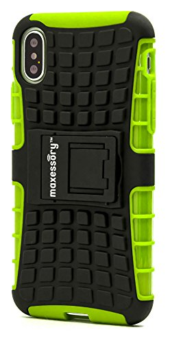 Apple iPhone X Case, Maxessory [Offroad] Shock-Proof Rugged Dual-Layer Armor Rigid Ultra-Slim Kickstand Protective Hard Tough Hybrid Phone Cover Shell Lime Green Black For Apple iPhone X by Maxessory