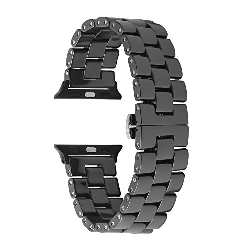 Ceramic Watch Band, SOWELL Ceramic Bracelet Replacement Band for Apple Watch Series 1 Series 2 (Black ()