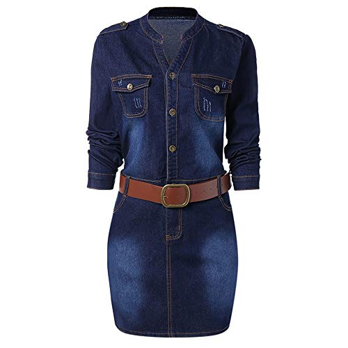 Plus Size Fitted Denim Jean Dress with Belt