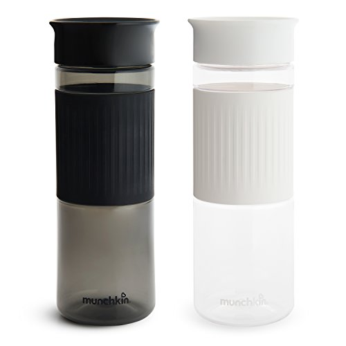 Miracle 360 Cup Parent Pack, 24 Ounce Tritan Water Bottles, Black and White, 2 Pack