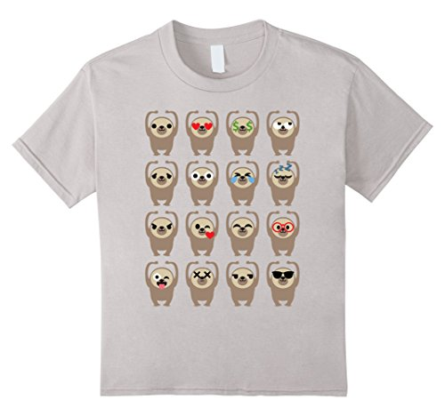 Kids Sloth Emoji Different Face Emotion Dance Shirt T-Shirt Tee 10 Silver (Cute Candy Corn Costumes)