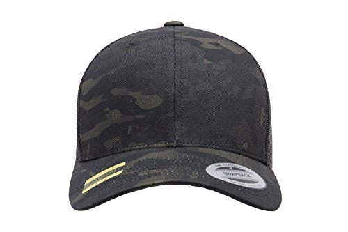 Camo Cami - Flexfit Multicam 6 Panel Baseball Cap Officially Licensed Multi-Cam 2 Patterns Black Camo Or Green Camo (Adjustable, Black)
