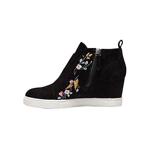 Linea Paolo Felicia | Scarpe Da Donna Con Zeppa Bootie Sneaker In Pelle O Scamosciato Nero Suede Ricamo
