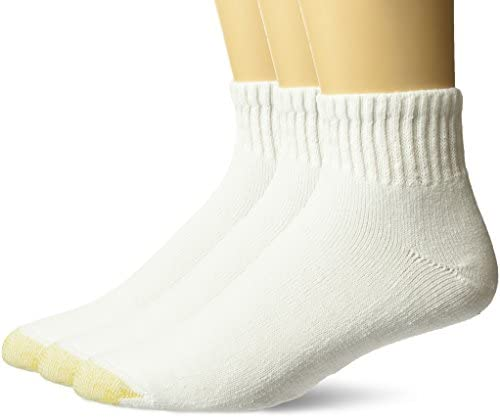 Gold Toe Men's Big and Tall Ultra Tec Performance Quarter Athletic Socks, 3 Pairs, White