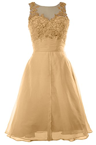 MACloth Women Straps Lace Chiffon Short Prom Dress Homecoming Formal Gown Champagne