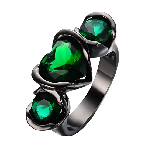 JunXin Lab Created Emerald Green Three Stones Black Gold Wedding Ring Heart Round Shaped ()