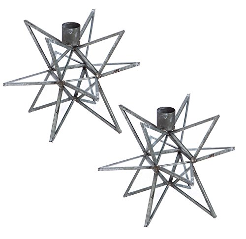 Cypress Home Iron Moravian Star Metal Taper Candle Holders, Set of 2