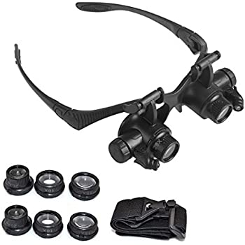 LEMONBEST Double Eye Watch Repair Magnifier Loupe Jeweler Magnifying Glasses Tool Set With LED Light 10X 15X 20X 25X