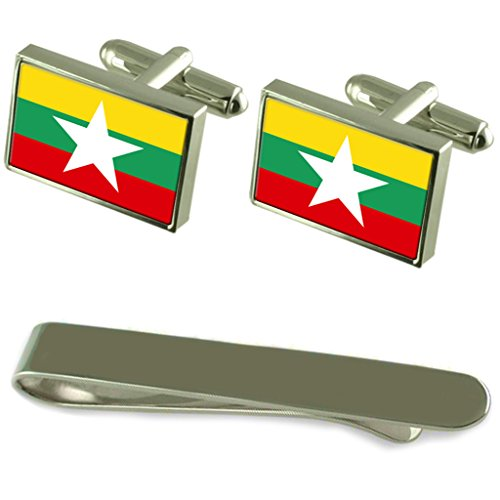 Burma Flag Silver Cufflinks Tie Clip Engraved Gift Set by Select Gifts