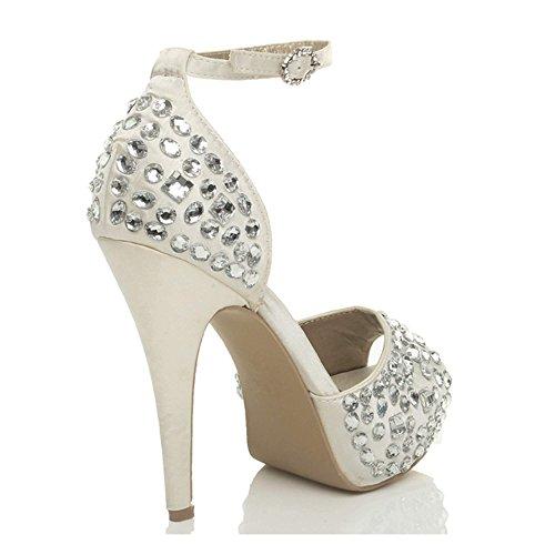 plateforme mariage pointure Femmes empierré haut à ouvert talon Ivoire bout chaussures Uq18Zw