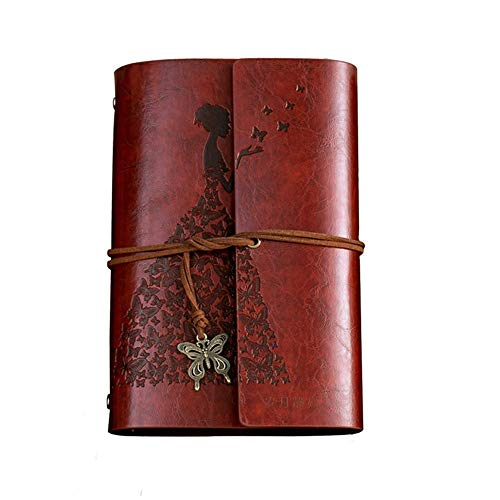 Fashionme Leather Journal A6 Retro Vintage Spiral Bound Notebook Refillable Diary Writing Sketchbook Notepad Guest Book with Refillable Blank Craft Paper as Gift (Brown, A6)