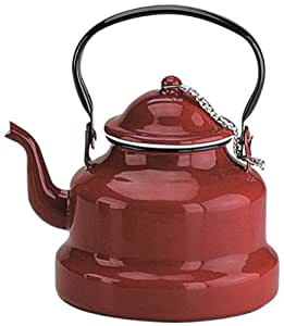 Ibili 910410 - Cafetera pava de acero esmaltado vitrificado Roja 1 l