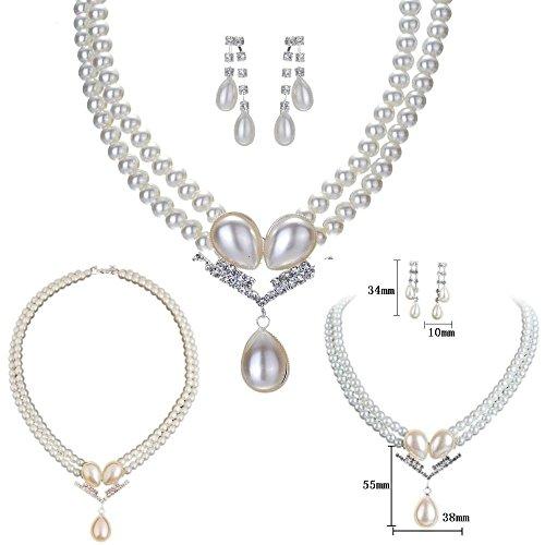 Time4-Charms Trachtenschuck Set Perlen Kropfband Collier Kette Ohrstecker Strass Perlenkette