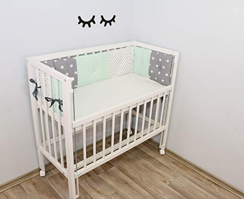 Baby Nestchen für Beistellbett (eckig) | Made in EU | ÖkoTex 100 | Schadstoffgeprüft | Antiallergisch | Baby Bettumrandung | Babynest |Mint Grau | 170 x 25 cm | ULLENBOOM ®