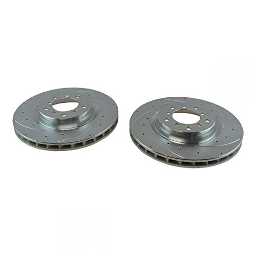 Performance Brake Rotor Drilled & Slotted Coated Front Pair for BMW ()