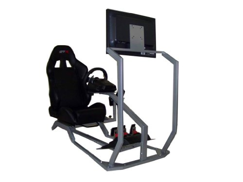 (GTR Simulator Model GT with Real Racing Seat, Driving Racing Simulator Cockpit with Gear Shifter Mount and Single Monitor Mount. Steering Wheel & Pedal is not included)