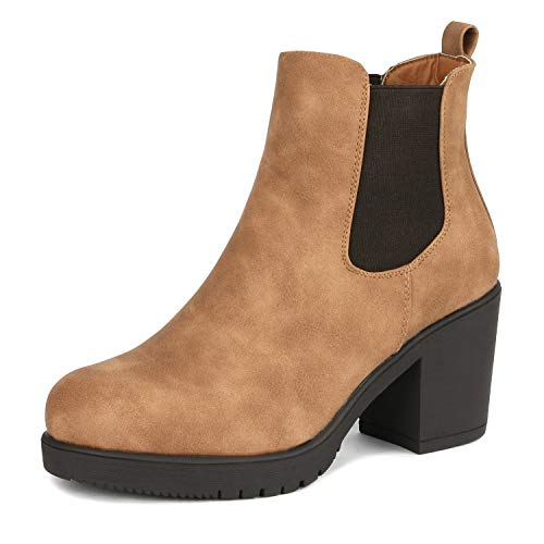 DREAM PAIRS Women's FRE Camel_PU High Heel Ankle Boots 6.5 B(M) US ()