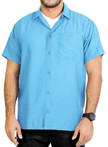 (LA LEELA Rayon Vintage Casual Camp Party Shirt Light Blue XL | Chest 48