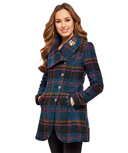 Joe Browns Asymmetric Collar Coat, Manteau Femme Multicolore