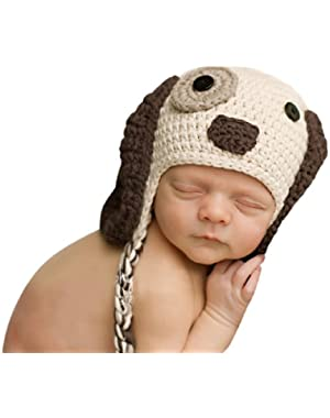 Melondipity Boys Little Puppy Dog Baby Hat - Crochet Animal Beanie