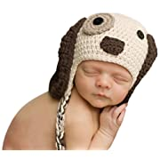 Melondipity Boys Little Puppy Dog Baby Hat - Crochet Animal Beanie (newborn)