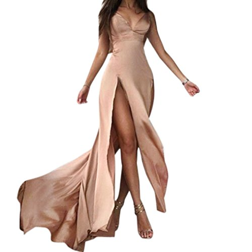 Konghai Women Elegant Halter Evening Party Dress Deep V-Neck Sexy Satin Maxi Dress