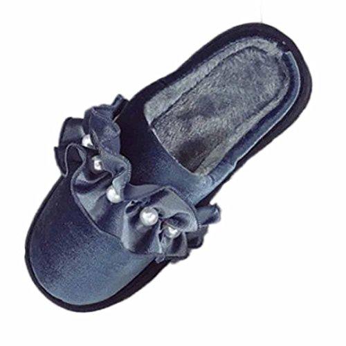レディースフラット、Hunzedファッションソフトパールファーフラットスリッパ靴ホームスリッパ靴カジュアル暖かいインドアFlip Flopサンダル