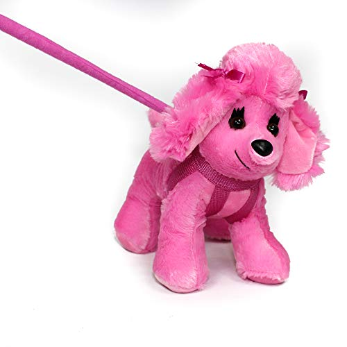 (FunStuff Pink Poodle with Bow Dog on a Retractable Red Leash Stuffed Animal Plush Toy)
