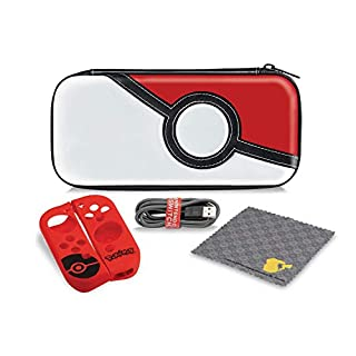 Nintendo Switch Pokemon Poke Ball Starter Kit with Travel Case, Power Cable & Cleaning Cloth by PDP, 500-121