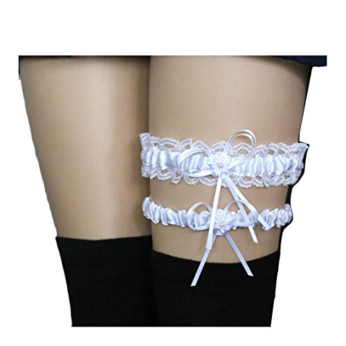 (Women Wedding Bridal Legs Garter Set Bridal Garters Lace Belt with Toss Away JW20 (8-White))